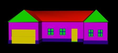 3D-hus med farger